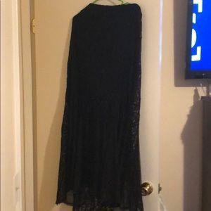 Black lace floor length skirt